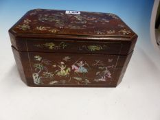 A CHINESE HARDWOOD BOX, THE SIDES INLAID WITH MOTHER OF PEARL SCENES OF WARRIORS, THE LIFT OFF
