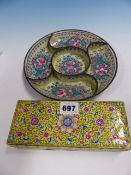 A CANTON ENAMEL SUPPER DISH, THE FIVE COMPARTMENTS PAINTED WITH PAIRS OF ROSES ON A PALE