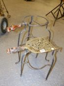 TWO EARLY 19th.C.WROUGHT IRON AND BRASS FIRESIDE POT STANDS. (2)