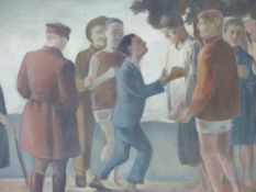 EARLY TO MID 20th.C.ENGLISH SCHOOL. THE DISAGREEMENT, OIL ON BOARD. 58 x 92cms.