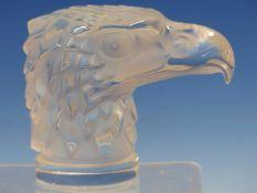 A LALIQUE TETE DE L'AIGLE PARTIALLY FROSTED GLASS CAR MASCOT, INCISED LALIQUE FRANCE. H 11.5cms.