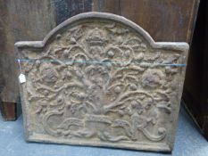 A SUBSTANTIAL ANTIQUE CAST IRON FIREBACK DECORATED WITH CROWNED OAK TREE (THE ROYAL OAK) 87 x 73