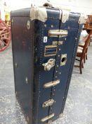 A VINTAGE WARDROBE TRUNK. 106 x 56 x 36cms.