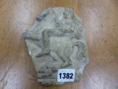 A MOULDED RELIEF OF AN HELLENISTIC SOLDIER ON A REARING HORSE. H 18cms.