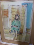 ROSEMARY ALLAN. (1911-2008) ARR. THE SAD SITTER, SIGNED AND INDISTINCTLY DATED, WATERCOLOUR WITH