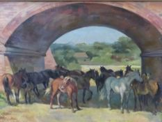 ROSEMARY SARAH WELCH. 1946-****. ARR. HORSES UNDER AN ARCH, SIGNED OIL ON BOARD. 51 x 76cms.