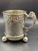 VICTORIAN SILVER HALLMARKED THREE FOOTED TANKARD DATED 1881 FOR CHARLES EDWARDS, HEIGHT 14cms,