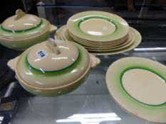 A CLARICE CLIFF NEWPORT POTTERY SIXTEEN PIECED PART DINNER SERVICE, EACH RIM BORDERED IN GREENS