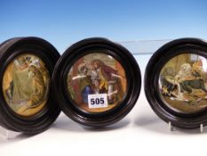 THREE FRAMED POT LIDS, ONE OF THE TWO DOG SUBJECTS WITH THE TITLE HIGH LIFE AND THE THIRD WITH THE