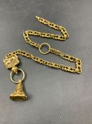 A YELLOW METAL FANCY LINK DOUBLE WATCH ALBERT WITH SEALING FOB AND HORSE MOTIF HOLDER. TOTAL