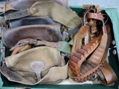 FOUR LEATHER CARTRIDGE BAGS TOGETHER WITH THREE LEATHER CARTRIDGE BELTS, ONE .410.