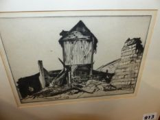 SIR WILLIAM ROTHENSTEIN. (1872-1945) TWO DRYPOINT ETCHINGS OF WWI. WAR DAMAGE, MOUNTED BUT UNFRAMED,
