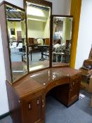 A GERMAN ART DECO STYLE WALNUT AND INLAID DRESSING TABLE WITH RAISED MIRROR DOOR CABINET OVER AND