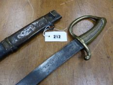 AN EARLY 19th C. FRENCH BRIQUET SABRE AND SCABBARD, INSCRIBED INDISTINCTLY BELOW THE HANDLE ON THE