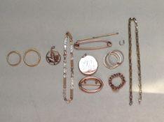 A QUANTITY OF GOLD, PLATINUM ETC TO INCLUDE 14ct, 22ct, 15ct ETC. WEIGHT 22ct-3.6g, PLATINUM- 1.8g,