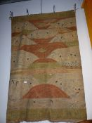 AN UNUSUAL CHINESE FLAT WEAVE PANEL WITH POLYCHROME DECORATION OF FIGURES AND VARIOUS MOTIFS. 224