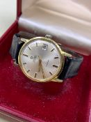 GENTS OMEGA GENEVE GOLD PLATE AND STAINLESS STEEL AUTOMATIC WATCH WITH DATE AT 3pm ON A BLACK