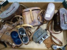 A BOX OF EIGHT PAIRS OF BINOCULARS, RACING GLASSES AND OPERA GLASSES INCLUDING BY DOLLAND, LONDON