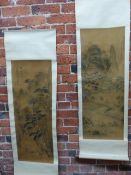 TWO CHINESE SCROLL PAINTINGS DEPICTING FISHERFOLK AND TRAVELLERS CLIMBING PATHS TO MOUNTAIN