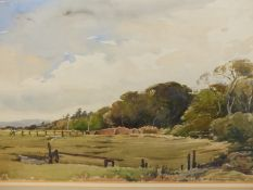 G.GILLMAN. 20th.C.BRITISH SCHOOL. ARR. THREE LANDSCAPE VIEWS, SIGNED WATERCOLOURS. LARGEST 34.5 x