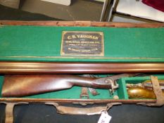G.SNOWDEN ALWICK. DB 12B PERCUSSION SHOT GUN IN LEATHER CASE WITH ACCESSORIES. NVN