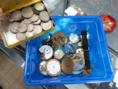 A QUANTITY OF WRIST AND POCKET WATCH MOVEMENTS AND A COLLECTION OF COINS.