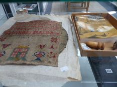 VINTAGE NEEDLEWORK ACCESSORIES, A SAMPLER, AND A TAPESTRY.