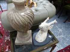 A CARVED WOOD STAG'S HEAD AND A STYLISED FINIAL.