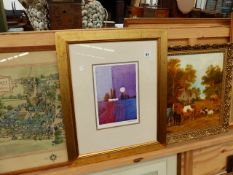AN OIL PAINTING SIGNED A.SENIOR, A MAP AND TWO PRINTS.