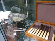A PART SET OF HALLMARKED SILVER FRUIT CUTLERY,ETC.