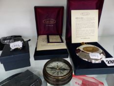 A DALBY POCKET WATCH TOGETHER WITH A MATCHING HIP FLASK, A BRASS CASED COMPASS AND AN ELEPHANT