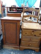 A VICTORIAN BEDSIDE CABINET, TWO SIDE CHAIRS AND A PINE BEDSIDE CABINET.