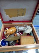 A BOX OF COLLECTABLES TO INCLUDE SILVER, TREEN, ETC.
