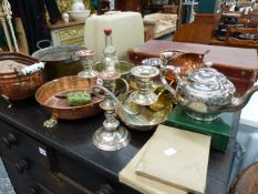 VARIOUS COPPER, BRASS AND PLATEDWARES.