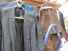 A COLLEGE GOWN AND VINTAGE CLOTHING.