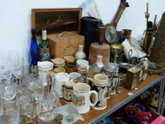 A QTY OF BREWERYANA, VARIOUS GLASSWARE, VICTORIAN BOOTSCRAPER,ETC.