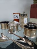 TWO SILVER HALLMARKED SALTS AND A MATCHING MUSTARD, AND VARIOUS PLATED WARE.