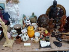 A QTY OF CARVED WOOD ORNAMENTS, VARIOUS PICTURES, DOLL,ETC.