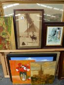 A QTY OF VARIOUS PAINTINGS AND PRINTS.