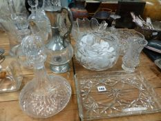A QTY OF CUT AND OTHER GLASSWARES.