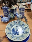 VARIOUS BLUE AND WHITE WARES.