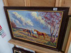 AN OIL ON BOARD, HORSES SIGNED DEACON.