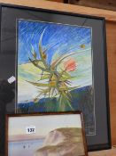 A WATERCOLOUR COASTAL SCENE AND AN ABSTRACT OF FLOWERS.