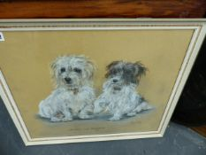 A PASTEL DRAWING OF DOGS BY MARJORIE COX AND A PORTRAIT PHOTOGRAPH.