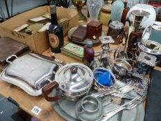 A QTY OF SILVERPLATED WARES, COLLECTABES, DRESSING TABLE SET,ETC.