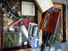 COLLECTABLES TO INCLUDE COINS, LANTERN PLATES, A BOKSON SIGHT, UPHOLSTERY SHEARS, ETC.