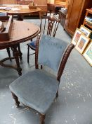 A PAIR OF VICTORIAN SIDE CHAIRS AND ONE OTHER.