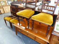 FOUR EDWARDIAN CHAIRS AND A MODERN COFFEE TABLE.