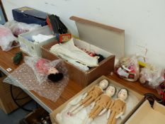 A PART OO GAUGE TRAIN SET, VARIOUS DOLLS, RUSSIAN STACKING DOLLS AND A HOBBY HORSE.