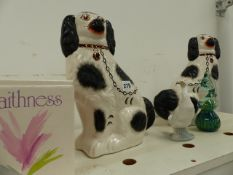 A PAIR OF STAFFORDSHIRE TYPE SPANIELS, A NAO FIGURINE, CAITHNESS VASES,ETC.